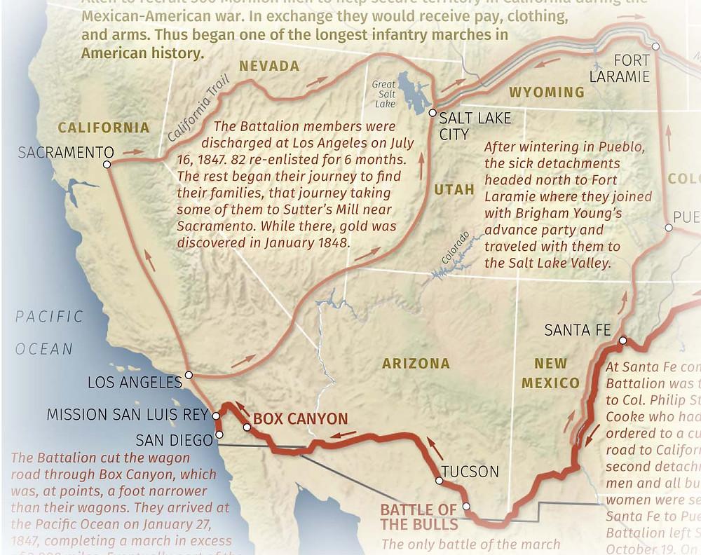 Mormon Battalion Map - San Diego to Salt Lake City