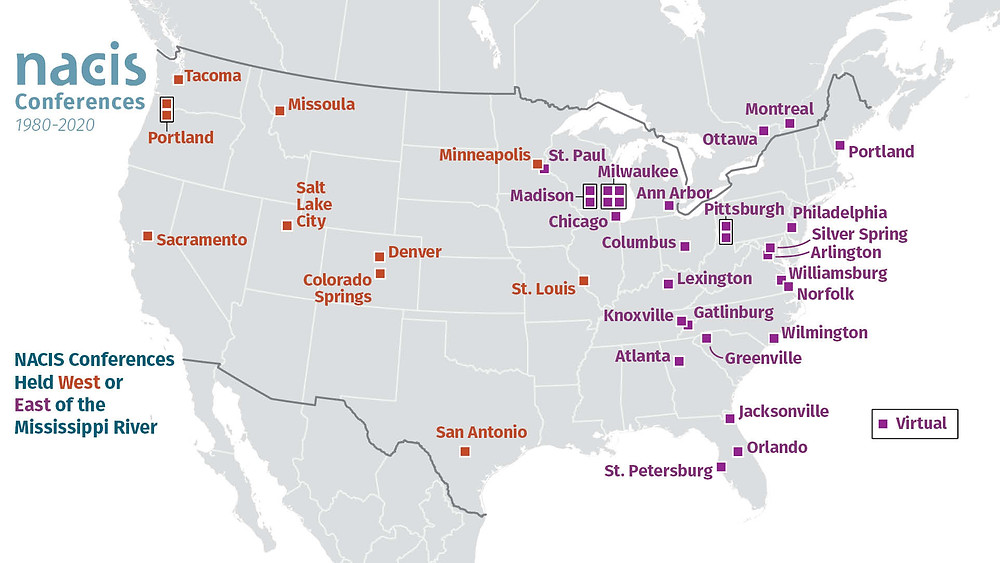 NACIS conference sites categorized by being west or east of the Mississippi. Especially amusing is the split between Minneapolis and St. Paul.