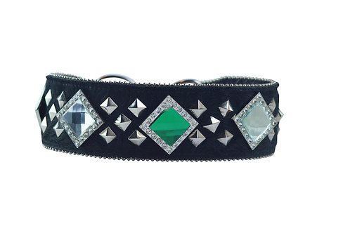 "2.75"" Emerald Green & Clear on Black Hair-on-Hide Leather"