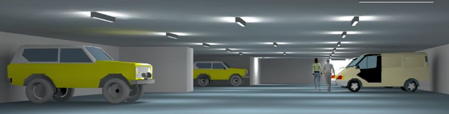Parkhaus, Tiefgarage, LED-Beleuchtung, Sensorik, Lichtsteuerung