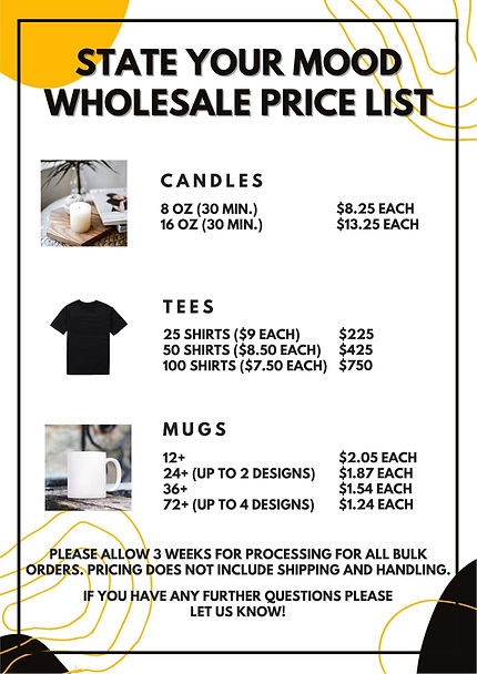 STATE YOUR MOOD PRICE LIST
