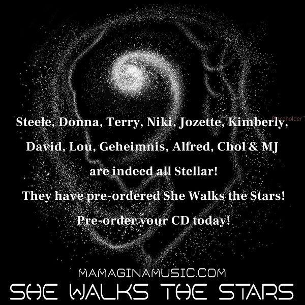She Walks the Stars Bag BW lotsa names.j