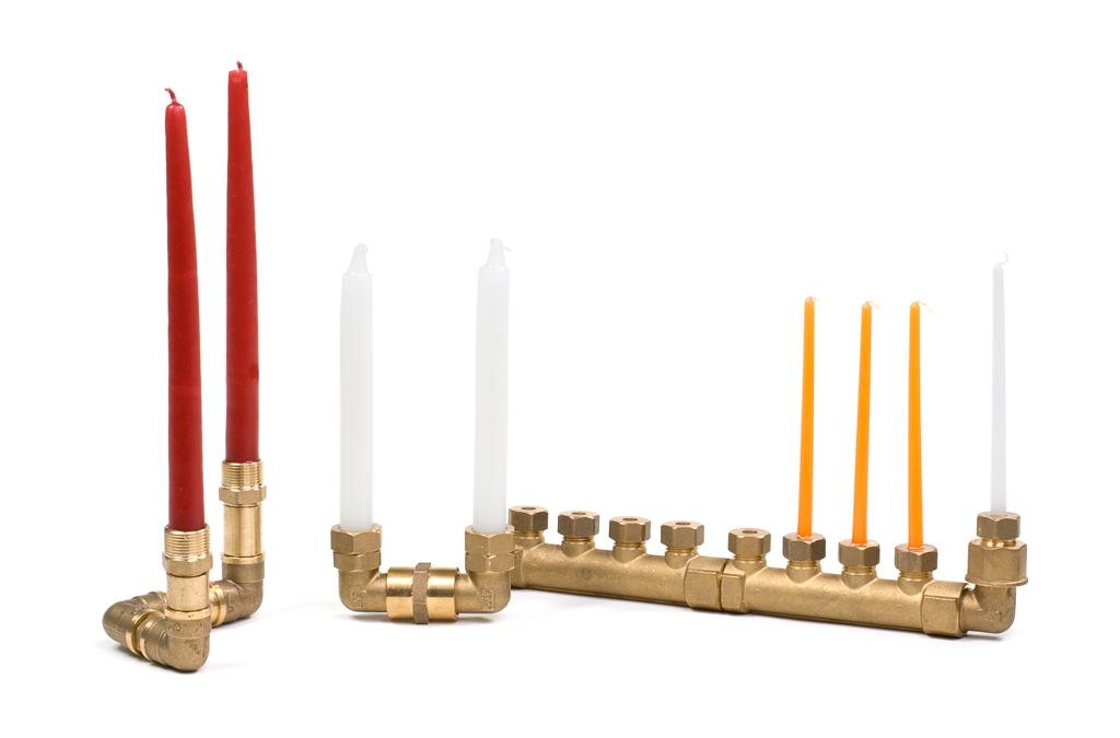 brass plumbing Chanukah lamp