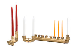 brass plumbing Chanukah lamp