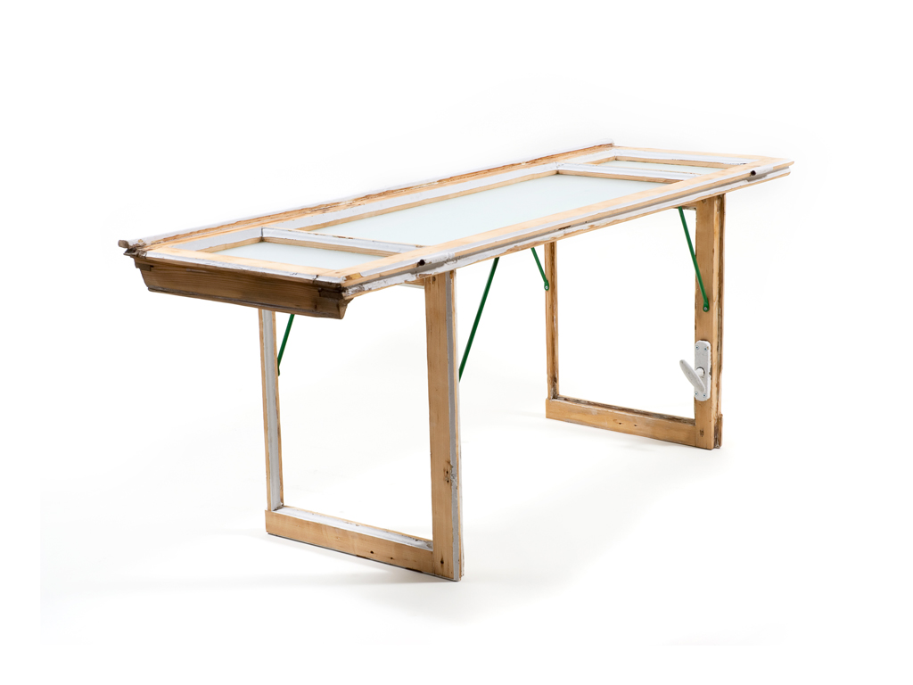 white window shade table