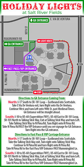 A map of Salt River Fields and the specific entrances for the event.