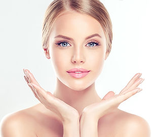 photo rejuvenation, clear face, skin, woman, beauty, female face, open hands, blond, white skin, RF lifting