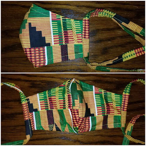 Face Mask w/Ties-Kente Print