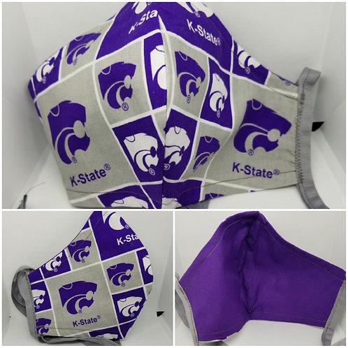 KSU Face Mask (Block) w/Gray Ties