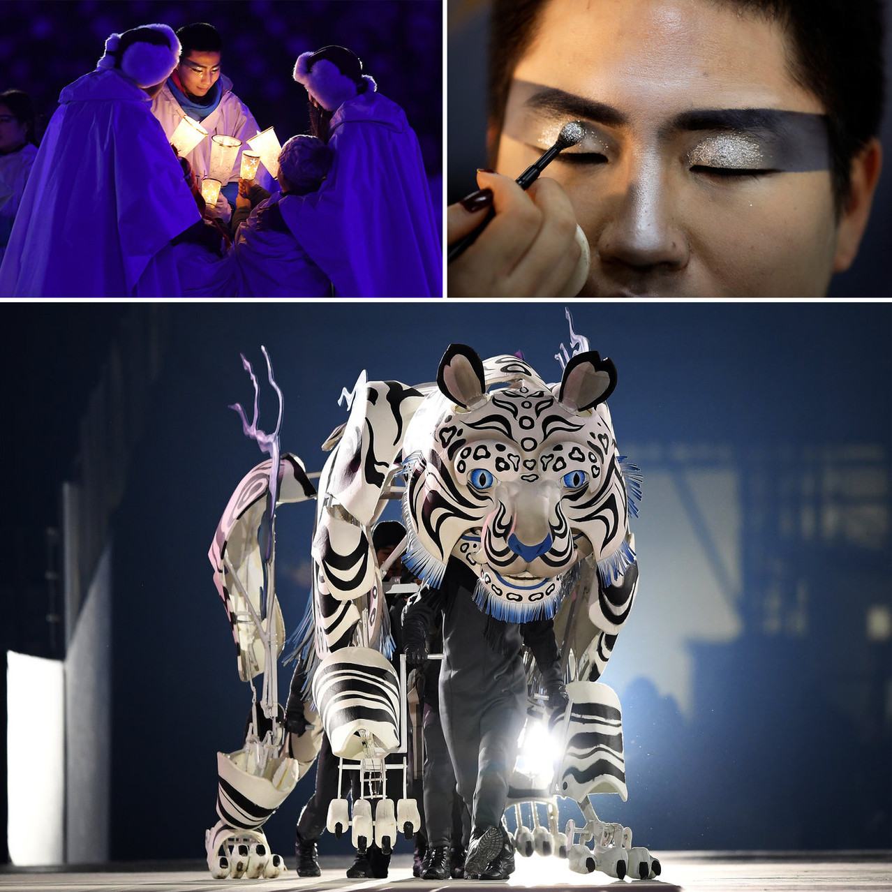 Top: Performers with candles; a makeup artist applies glitter to a performer backstage. Bottom: Dancers perform inside a tiger. Matthias Hangst; Gregory Bull; Quinn Rooney/Getty Images