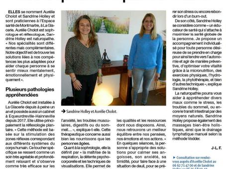 Petit bonheur de ce jour... article de presse ce mercredi 28 Octobre avec ma collègue Naturopathe