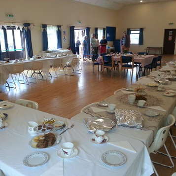 Tables being laid for lunch