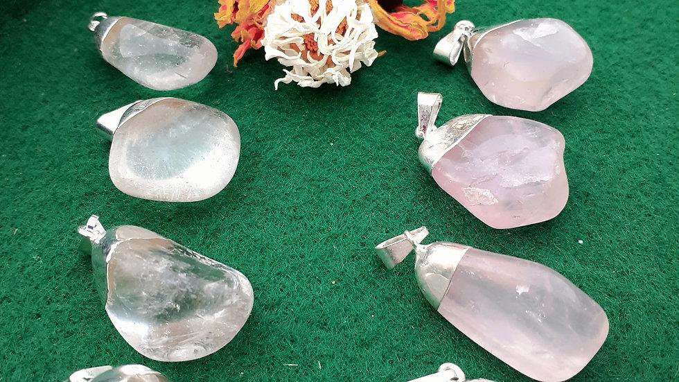 Clear Quartz Pendant Necklace / Rose Quartz Pendant Necklace