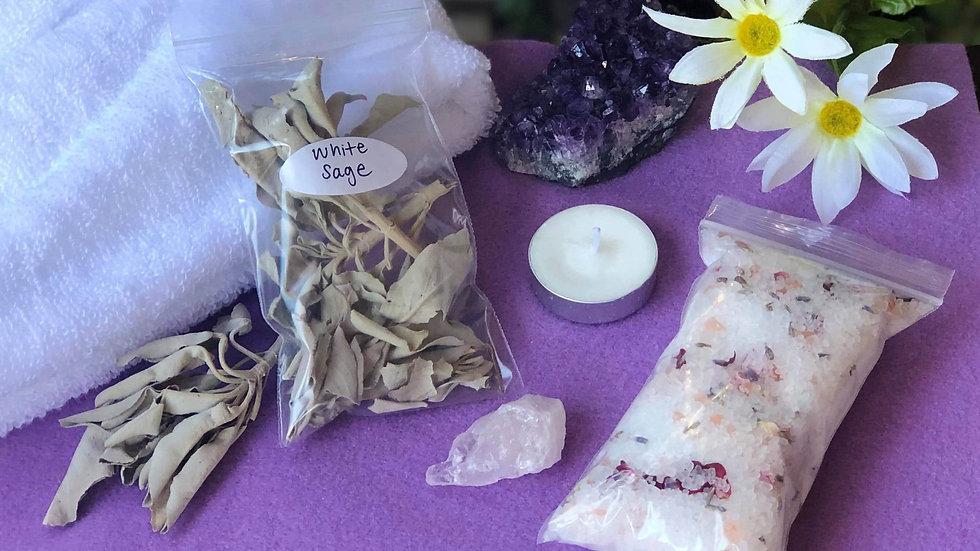 Lavender Bath Cleansing Kit / Bath Ritual Kit / White Sage / Bath Salt
