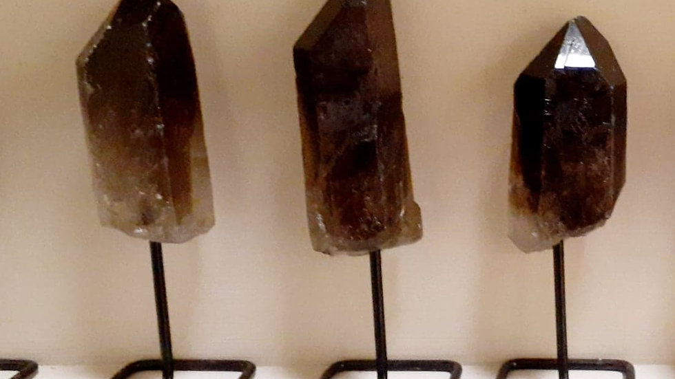 Smokey Quartz Point on Stand / Grounding Stone / Protection Crystal