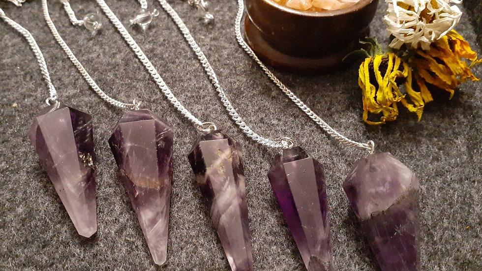 Amethyst Pendulum / Crystal Pendulum / Dowsing Pendulum / Amethyst Point / Chakr