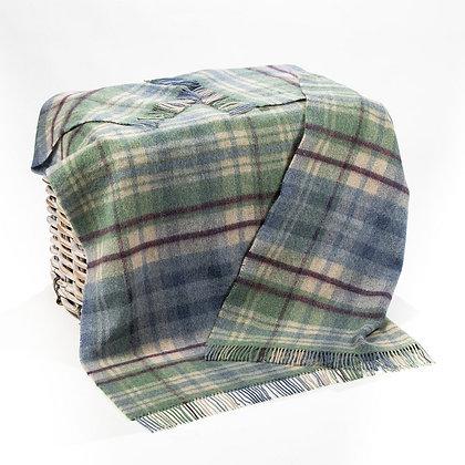 John Hanly Picnic Blanket Denim Green Plaid