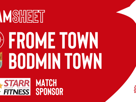 TEAMSHEET: Frome Town v Bodmin Town