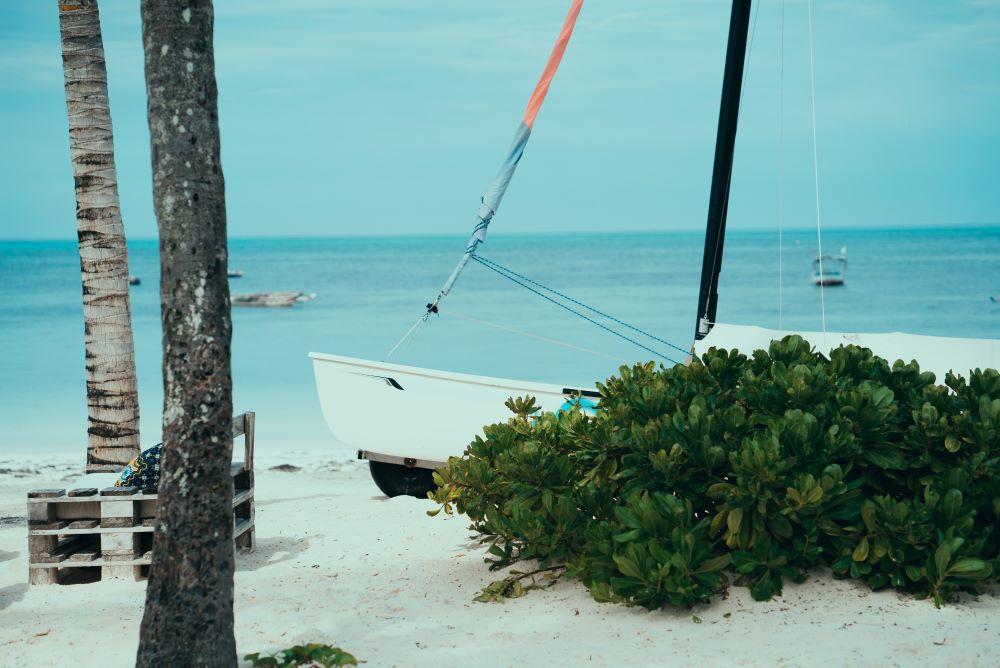Sail boat on beach in Zanzibar