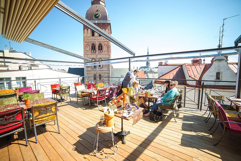 Terrace at Hotel Gutenbergs in Riga