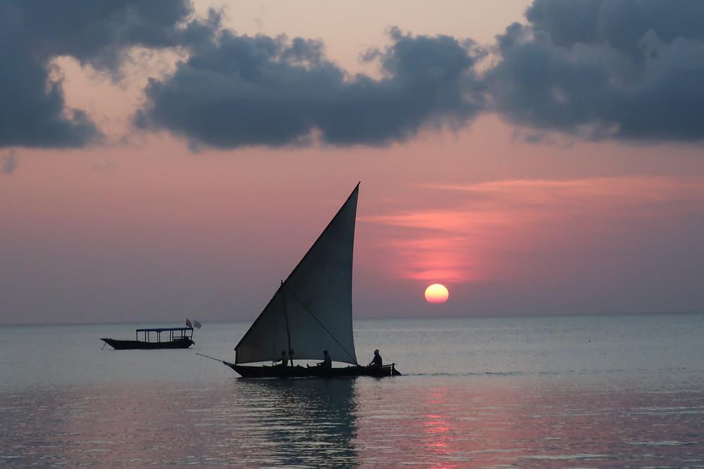 Sail boats at sunset