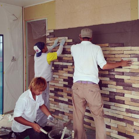 三期工事 リビング壁タイル