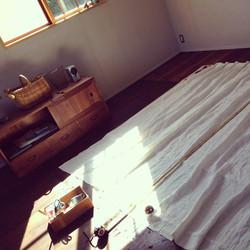 寝室カーテン縫い