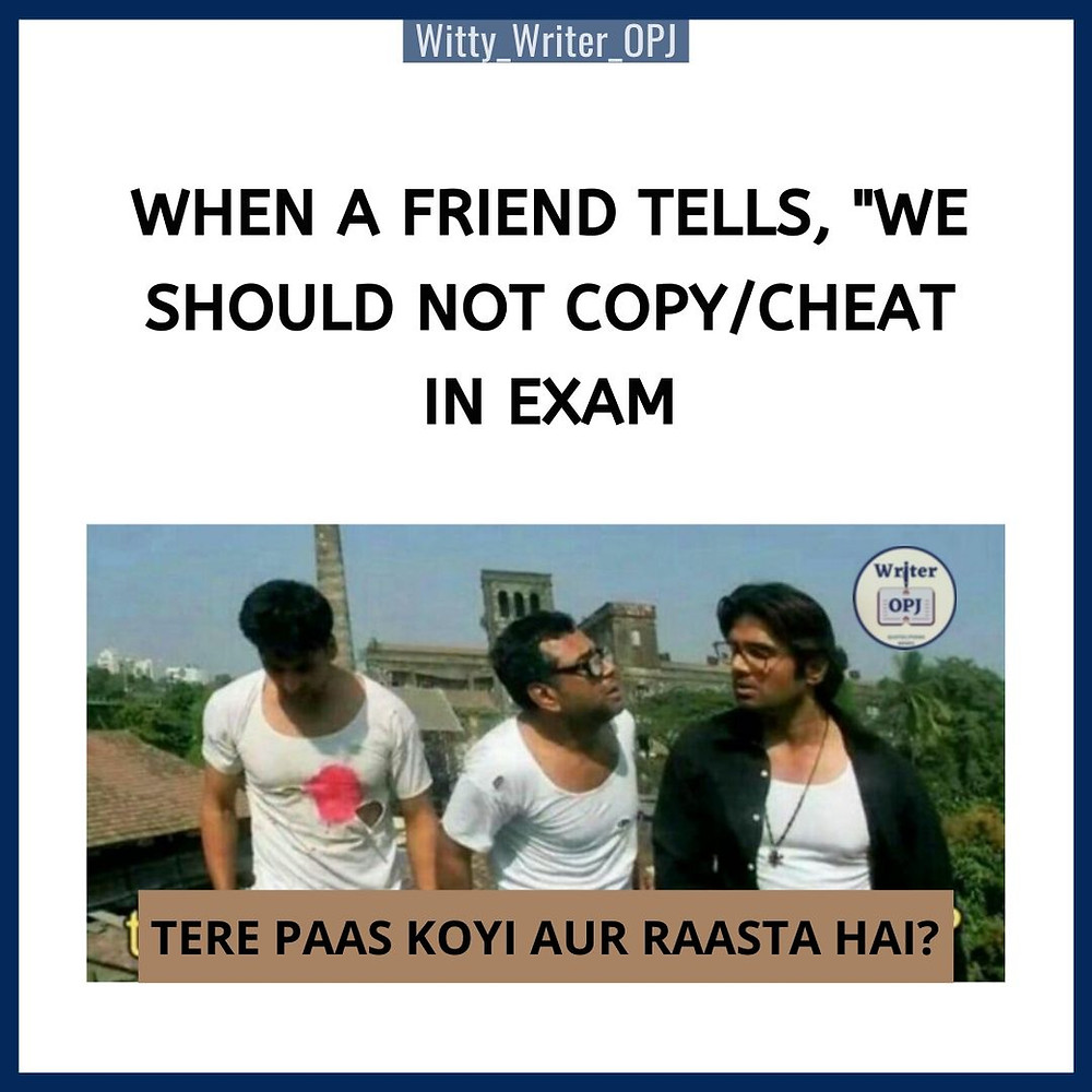 Funny Students exams memes featuring Paresh Rawal, Akshay Kumar and Suniel Shetty from Hera Pheri in the meme template