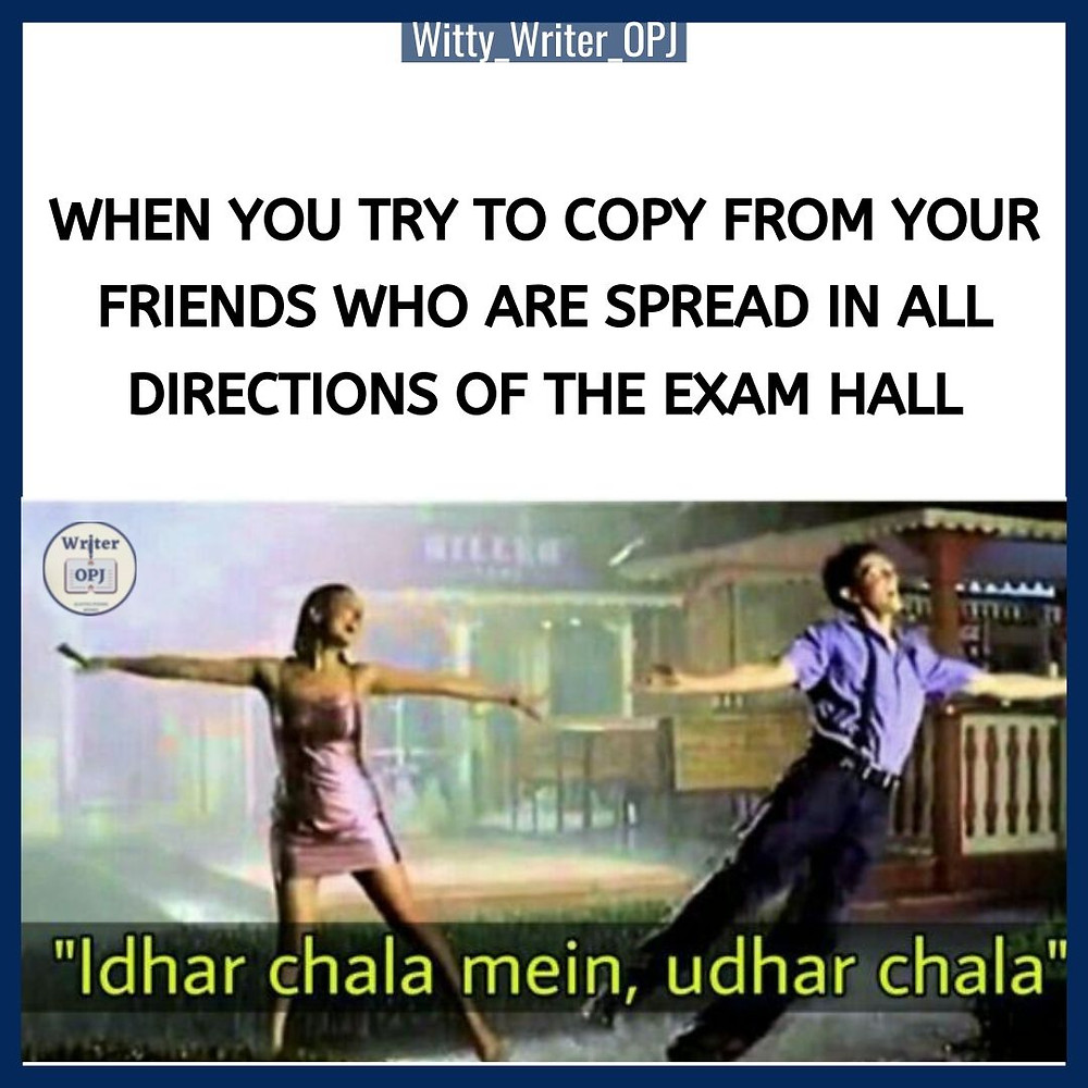 Funny Exam Memes for students featuring Hrithik Roshan and Priety Zinta from Koi Mil Gaya movie
