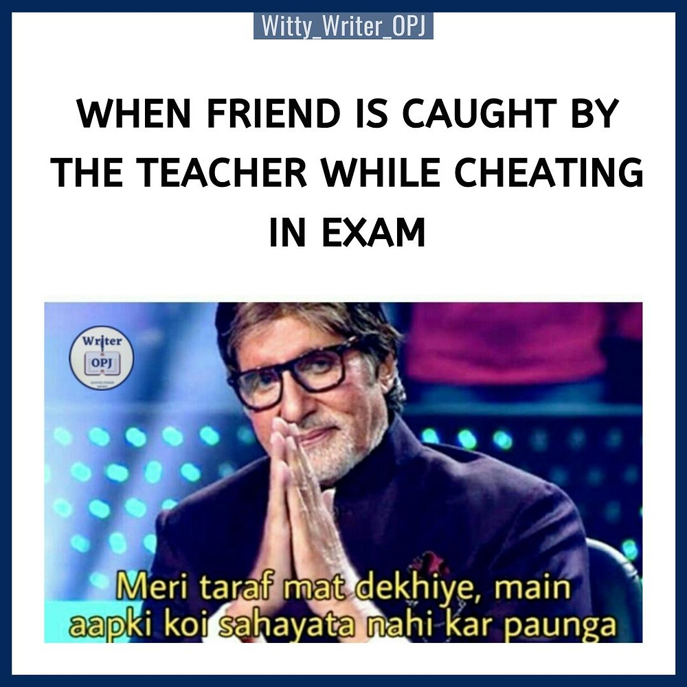 Funny Exam memes for students and the meme template features Amitabh Bchchan from Kaun Banega Crorepati