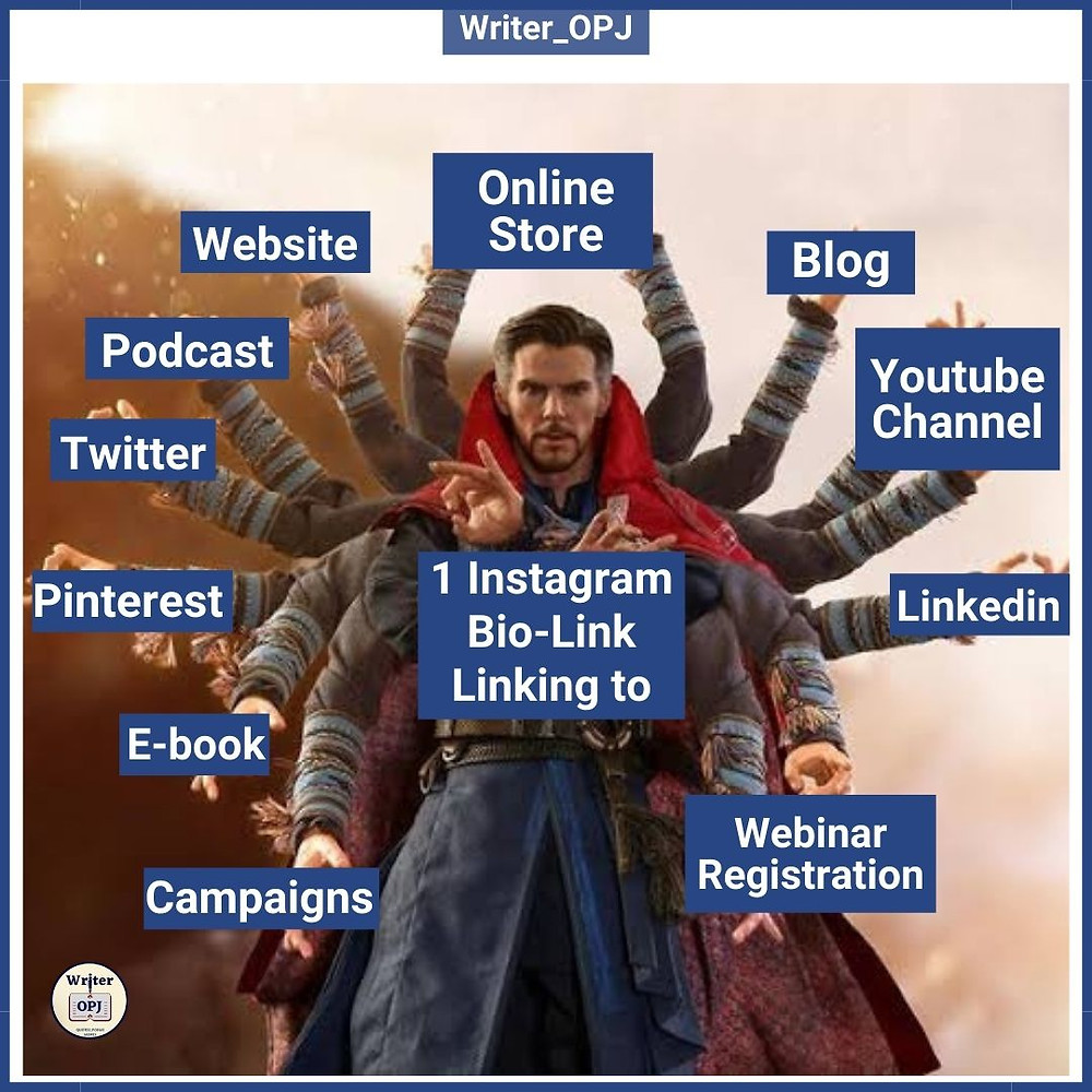 One Instagram Bio link linking to your blog, podcast, youtube channel, website and social media links depicted by using doctor strange meme template. Instagram Marketing meme