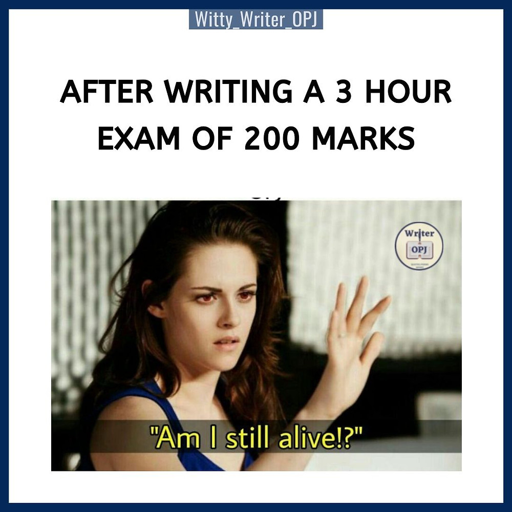 Funny Exam Meme for Students featuring Kristen Stewart in the meme template