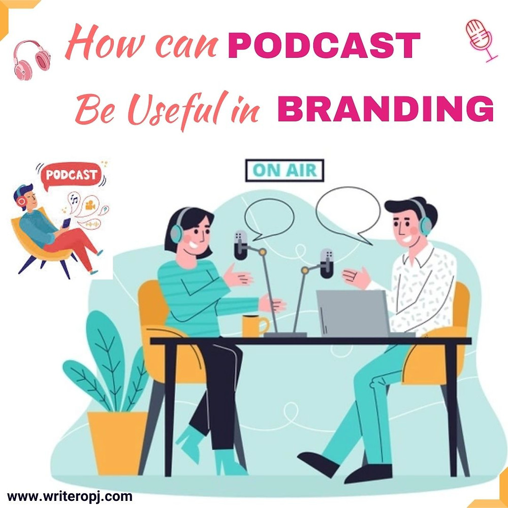 This image explains how podcasts are useful in branding