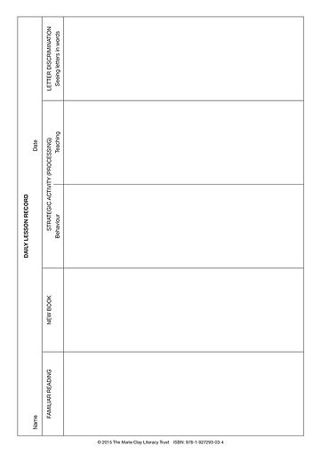 image of Daily Lesson Record sheet