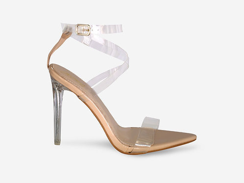 Whitney - Nude Patent Perspex Straps Clear Heel