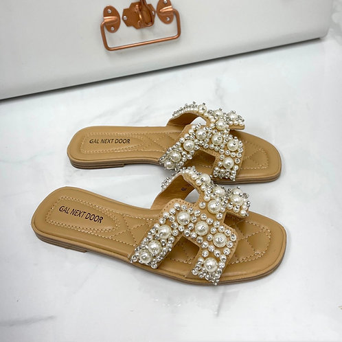 Penelope - Nude with Pearl H Style Square Toe Slip On Sandals