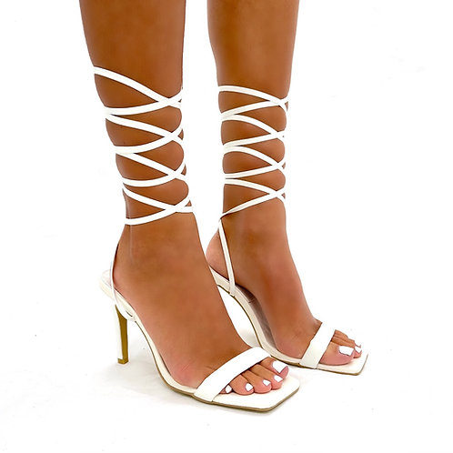 Camilla - White Patent with Croc Detail Inner Sole Tie-Up Low Mule Heels