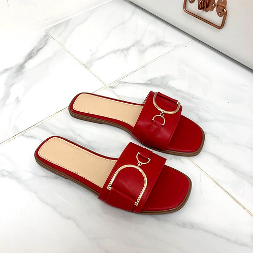 Delilah - Red with Gold Interlocking D Chain Flat Square Toe Slip On Sandal