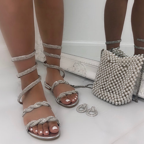Casey - Silver Plait Design Spiral Wrap Up Flat Sandals