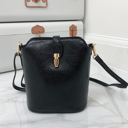 Black Faux Leather and Gold Clip in Cross Body Zip Up Bag