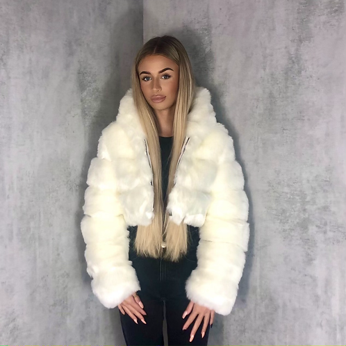 Nella - White Faux Fur Ribbed Hooded Zip Up Cropped Jacket