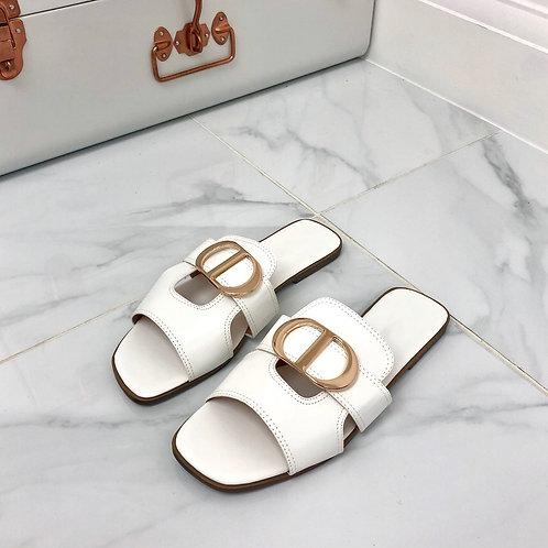 Dakota - White with Gold Detail Slip On Flat Sandal