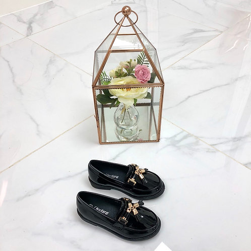 Baby Darcey - Black Patent with Gold Tassle Detail Flat Loafer