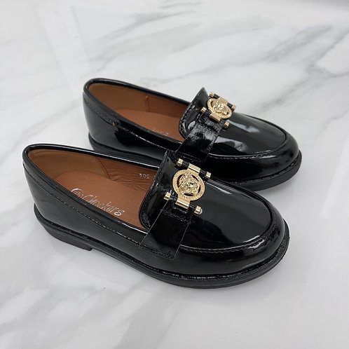 Baby Naomi- Black Patent with Gold Detail Flat Loafer