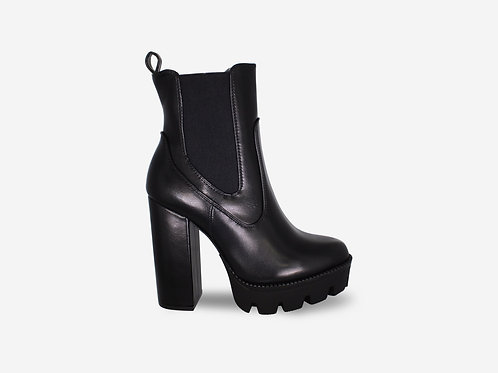 Tabitha - Black Faux Leather Block Heel Chunk Sole Ankle Boot