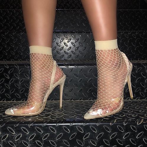 Keisha - Nude Fishnet Sock Stiletto Heel