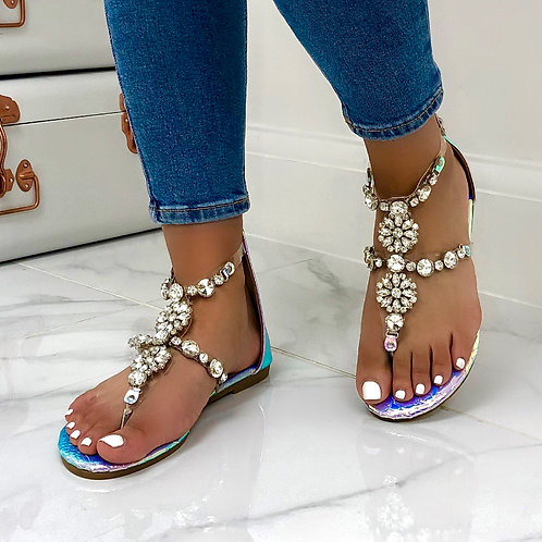 Kira - Iridescent with Silver Chain Detail Zip Up Flat Sandals