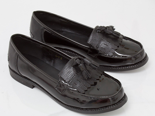 Ava - Black Patent/ Lizard Tassle Loafer