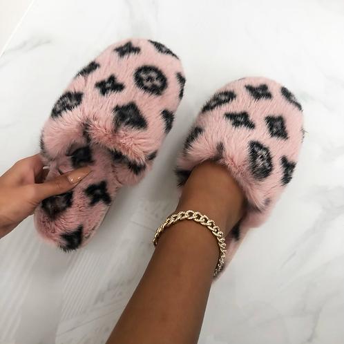 Ari- Pink and Black Fluffy Printed Slipper Sliders