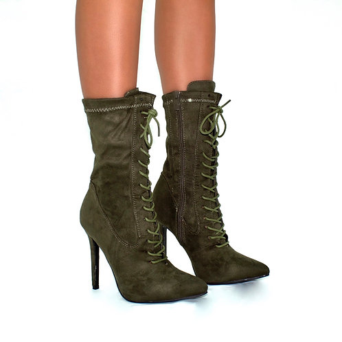Kennedy- Khaki Faux Suede Pointed Toe Zip Up Stilletto Heel Ankle Boots